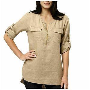 Ellen Tracy Tan Linen Tunic Blouse with Zipper